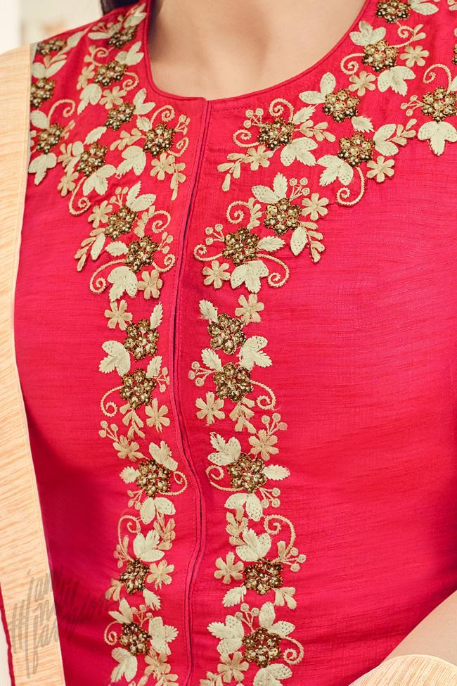 Indi Fashion Red and White Silk Party Wear Palazzo Suit