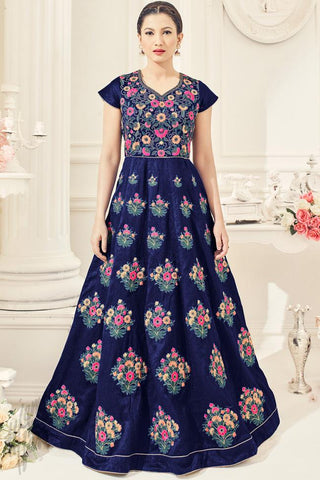 Indi Fashion Navy Blue Silk Party Wear Floor Length Suit