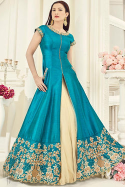 Indi Fashion Blue and Cream Silk Party Wear Lehenga Style Suit