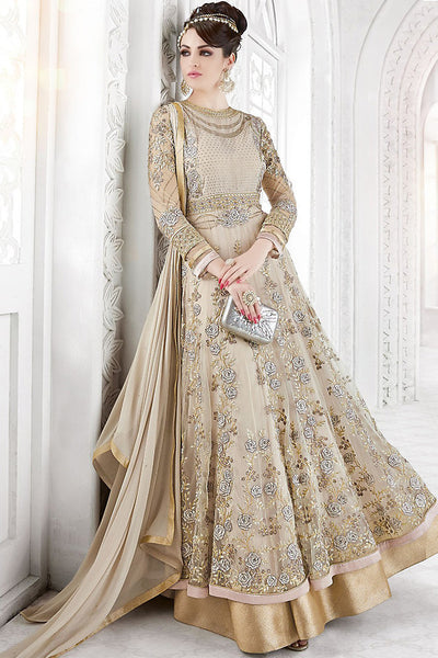 Buy Beige Net Embroidered Party Wear Floor Length Suit Online at indi.fashion