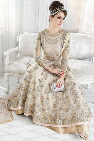 Indi Fashion Beige Net Embroidered Party Wear Floor Length Suit
