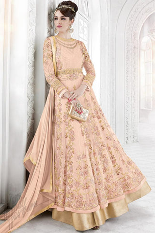 Indi Fashion Soft Pink Net Embroidered Party Wear Floor Length Suit