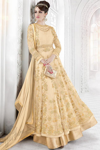 Buy Cream Net Embroidered Party Wear Floor Length Suit Online at indi.fashion