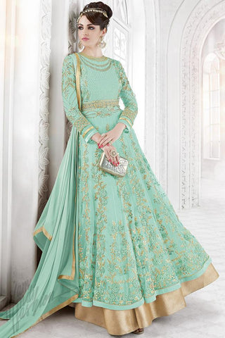 Indi Fashion Light Sea Green Net Embroidered Party Wear Floor Length Suit