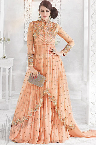 Indi Fashion Peach Georgette and Net Party Wear Floor Length Suit