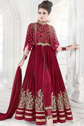 Indi Fashion Maroon and Gold Georgette Party Wear Floor Length Suit