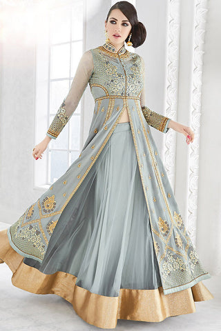 Indi Fashion Gray and Gold Net Party Wear Floor Length Suit