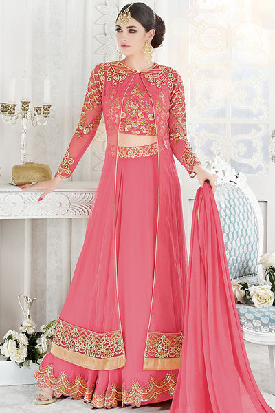 Buy Pink and Gold Georgette and Net Party Wear Floor Length Suit Online at indi.fashion