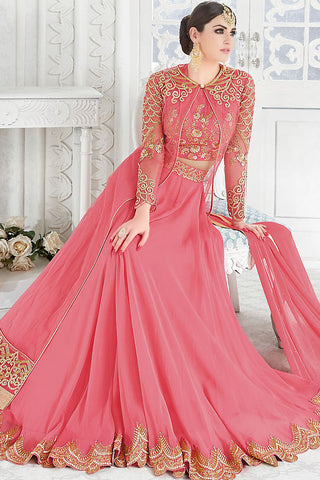 Indi Fashion Pink and Gold Georgette and Net Party Wear Floor Length Suit