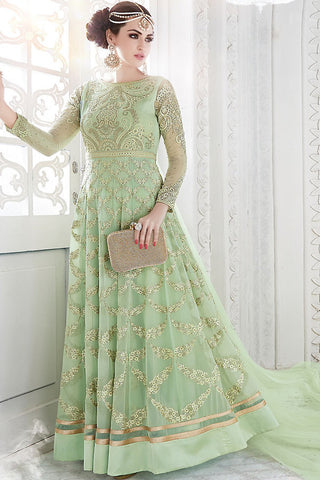 Indi Fashion Pastel Green Georgette Party Wear Floor Length Suit