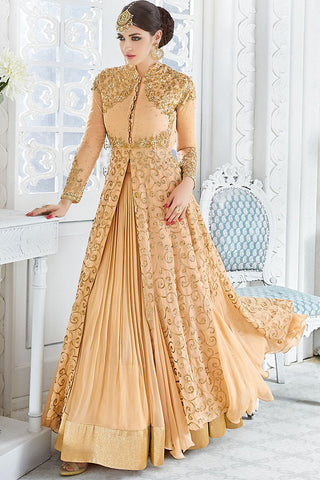 Indi Fashion Light Peach and Gold Georgette Party Wear Floor Length Suit