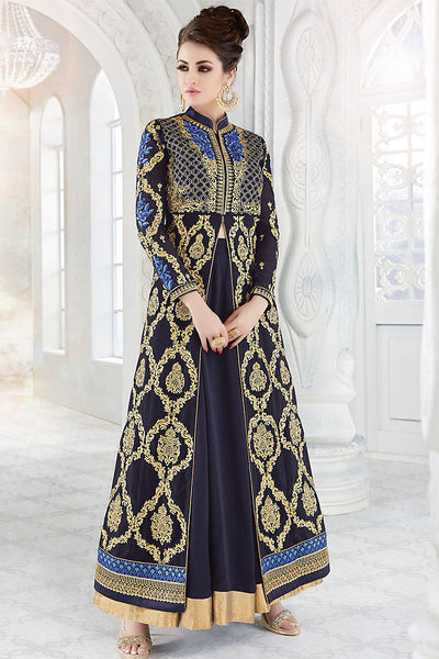 Buy Navy Blue and Gold Georgette Party Wear Floor Length Suit Online at indi.fashion