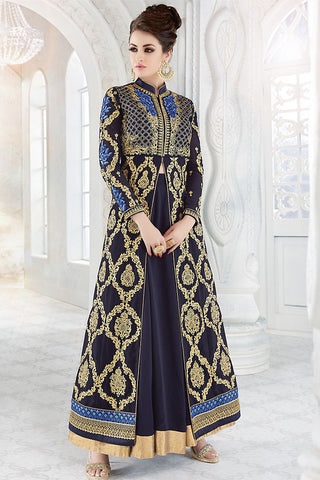 Indi Fashion Navy Blue and Gold Georgette Party Wear Floor Length Suit