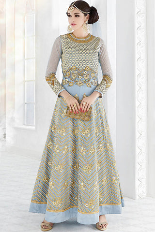 Indi Fashion Light Blue and Gold Party Wear Floor Length Suit