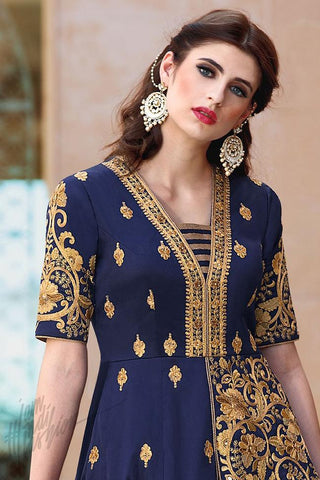 Buy Blue and Gold Taffeta Silk Floor Length Party Wear Suit Online at indi.fashion