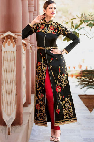 Indi Fashion Black Gold and Red Taffeta Silk Knee Length Party Wear Suit
