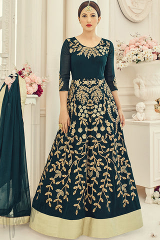 Buy Bottle Green Georgette Party Wear Floor length Suit Online at indi.fashion