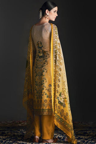 Buy Shaded Mustard Yellow Silk Straight Suit Online at indi.fashion