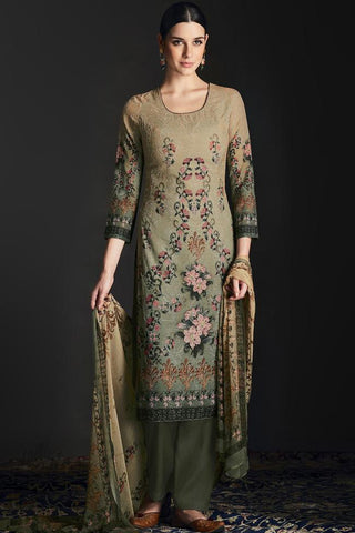 Buy Shaded Heena Green Silk Straight Suit Online at indi.fashion