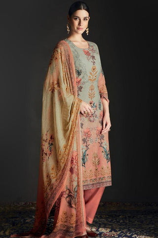 Buy Shaded Peach and Green Silk Straight Suit Online at indi.fashion