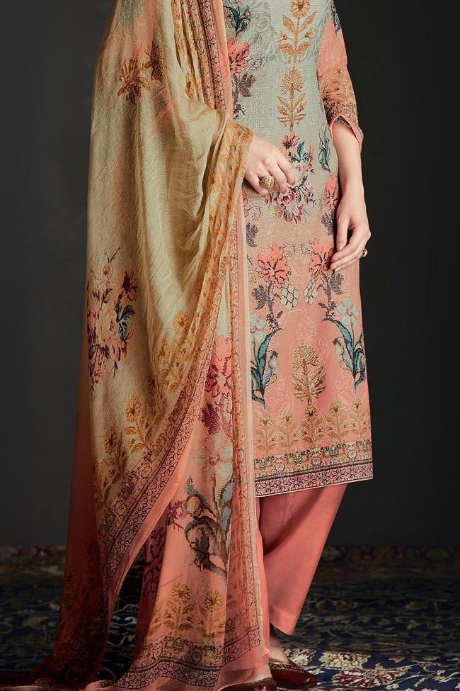 Indi Fashion Shaded Peach and Green Silk Straight Suit