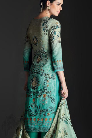 Buy Shaded Sky Blue Silk Straight Suit Online at indi.fashion