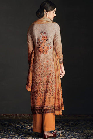Buy Shaded Orange Silk Straight Suit Online at indi.fashion