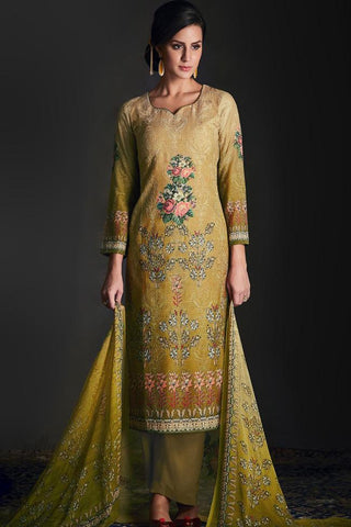 Buy Shaded Green Silk Straight Suit Online at indi.fashion