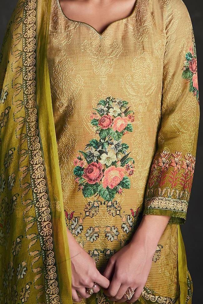 Indi Fashion Shaded Green Silk Straight Suit