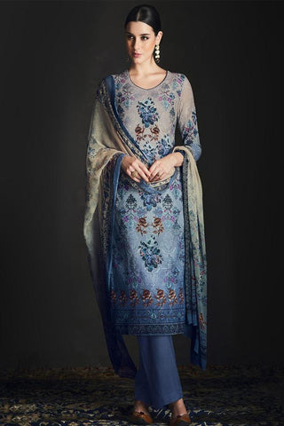 Buy Shaded Blue Silk Straight Suit Online at indi.fashion