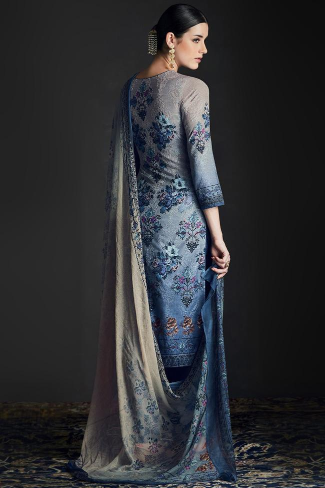 Indi Fashion Shaded Blue Silk Straight Suit