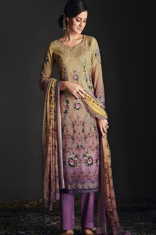 Buy Shaded Green and Purple Silk Straight Suit Online at indi.fashion