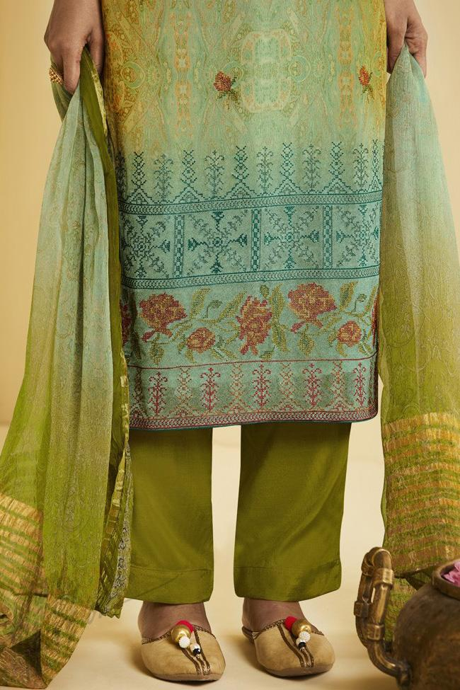 Indi Fashion Green Shaded Georgette Straight Suit