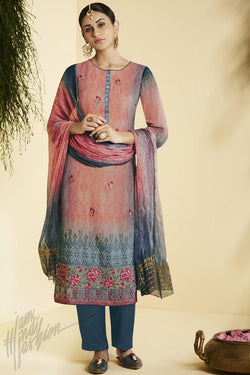 Indi Fashion Pink and Blue Georgette Straight Suit