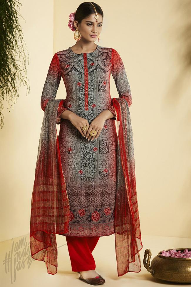 Indi Fashion Red and Gray Georgette Straight Suit
