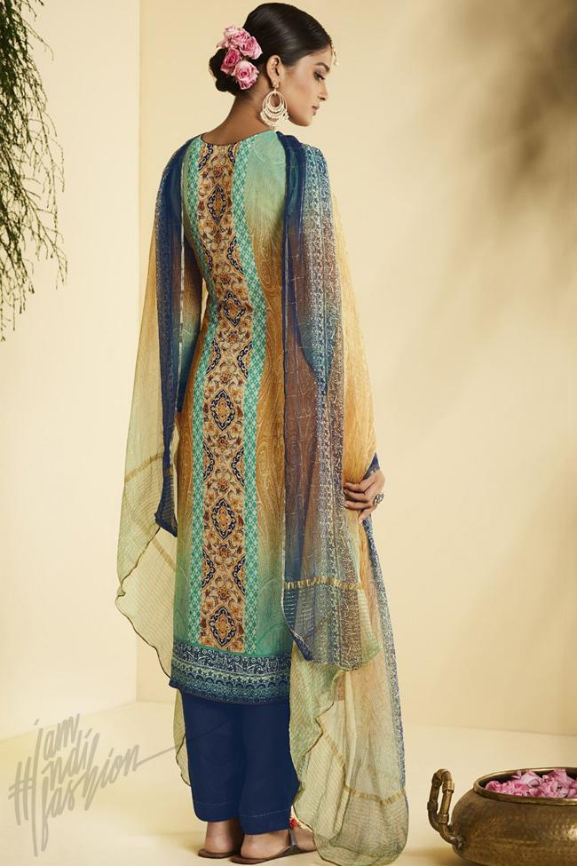 Indi Fashion Green Yellow and Blue Georgette Straight Suit