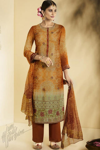 Indi Fashion Brown Georgette Straight Suit