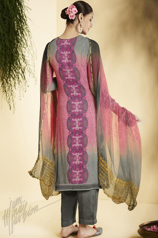 Indi Fashion Pink and Gray Georgette Straight Suit