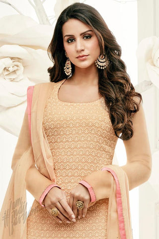 Indi Fashion Cream and Peach Georgette Party Wear Straight Suit