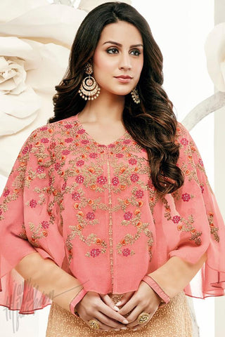 Indi Fashion Cape Style Cream and Peach Georgette Party Wear Straight Suit