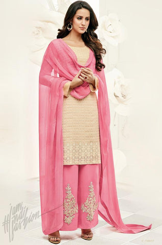 Indi Fashion Pink and Maroon Georgette Party Wear Straight Suit