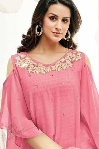 Indi Fashion Cape Style Pink and Maroon Georgette Party Wear Straight Suit