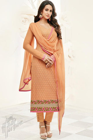 Indi Fashion Orange Georgette Party Wear Straight Suit