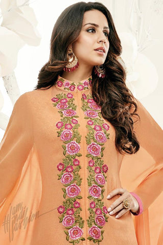 Indi Fashion Cape Style Orange Georgette Party Wear Straight Suit