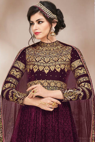 Buy Maroon Velvet Net and Brasso Floor Length Party Wear Suit Online at indi.fashion