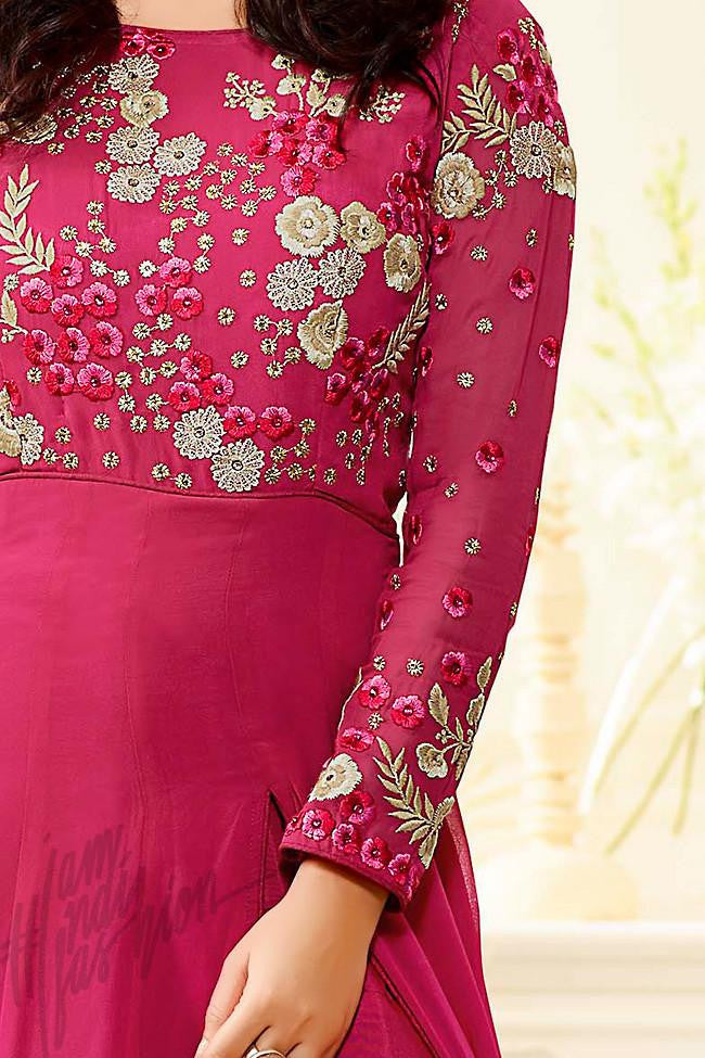 Indi Fashion Pink Georgette Anarkali Party Wear Suit