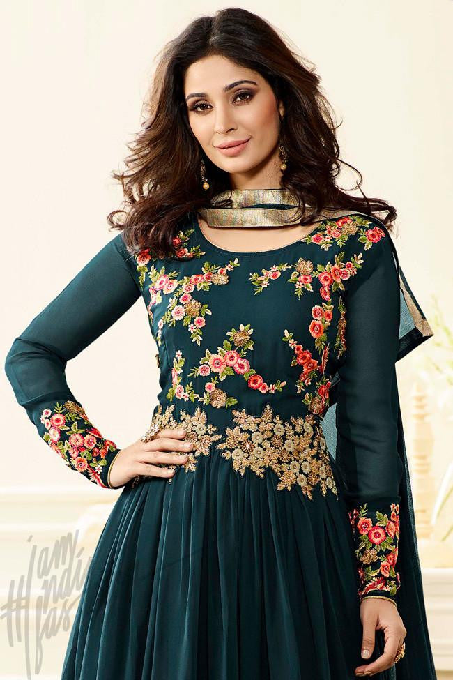 Indi Fashion Forest Green Georgette Anarkali Party Wear Suit