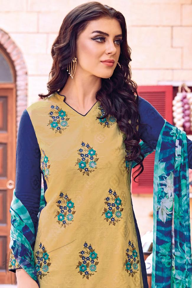 Indi Fashion Beige and Blue Cotton Jacquard Knee Length Palazzo Suit