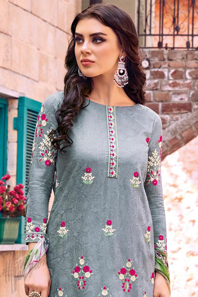 Indi Fashion Gray Cotton Jacquard Knee Length Straight Suit