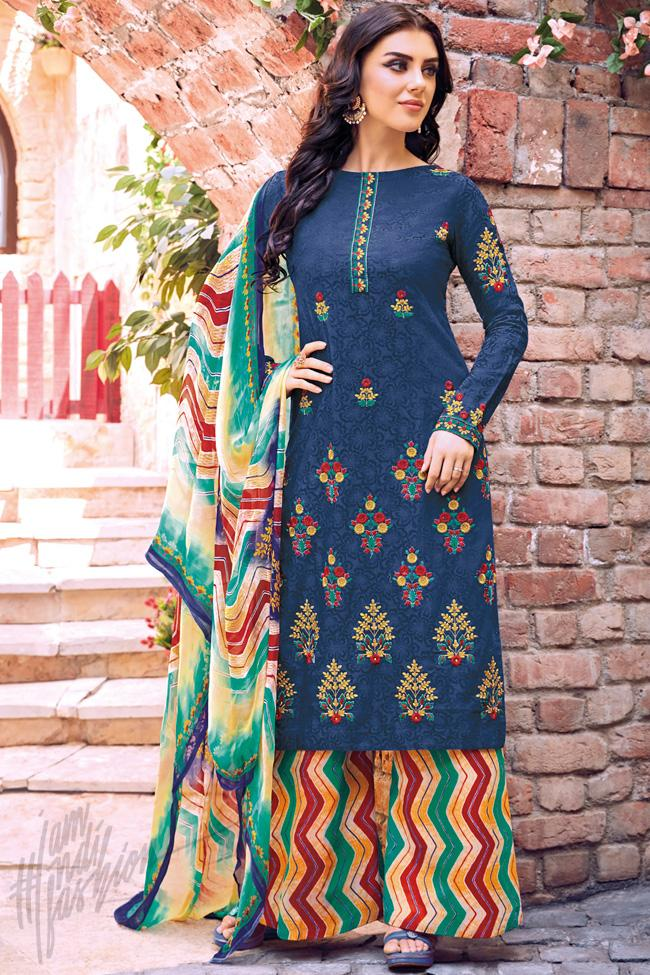 Indi Fashion Navy Blue Cotton Jacquard Knee Length Palazzo Suit